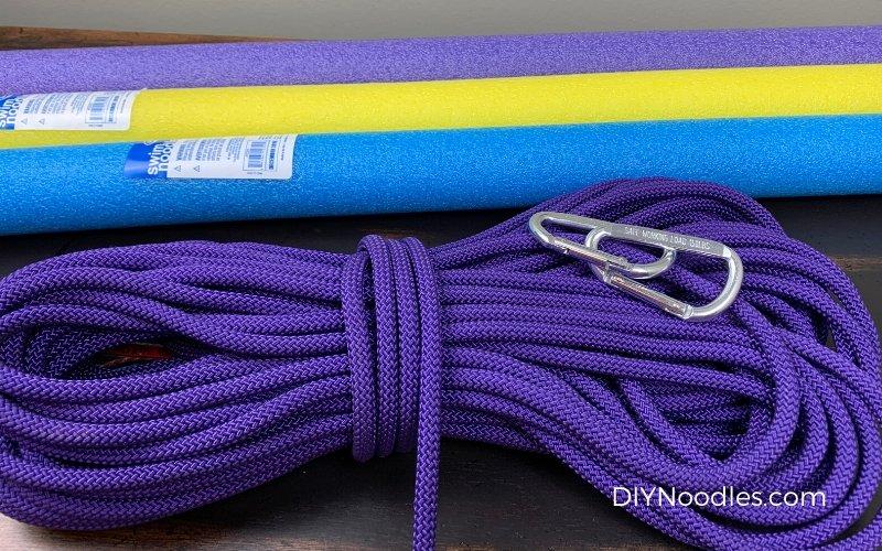 rope, swim noodles, carabiners