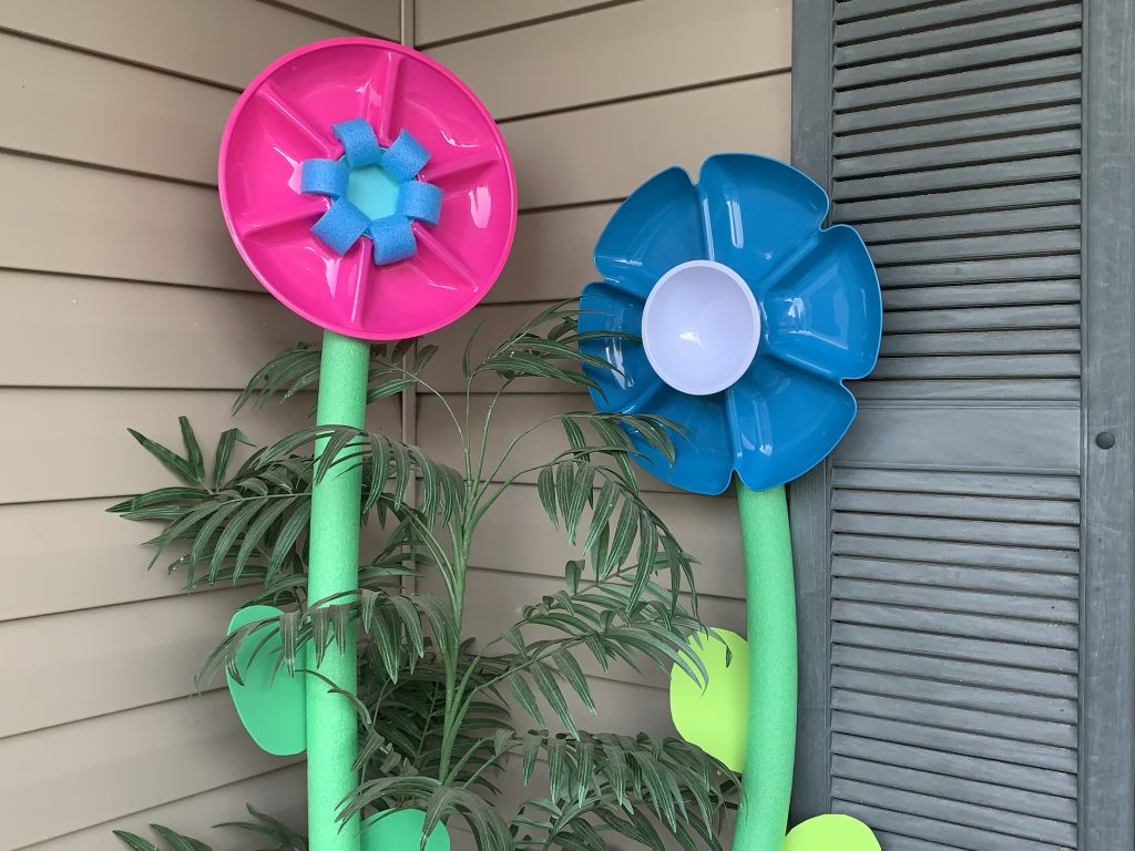 Giant pool noodle flowers