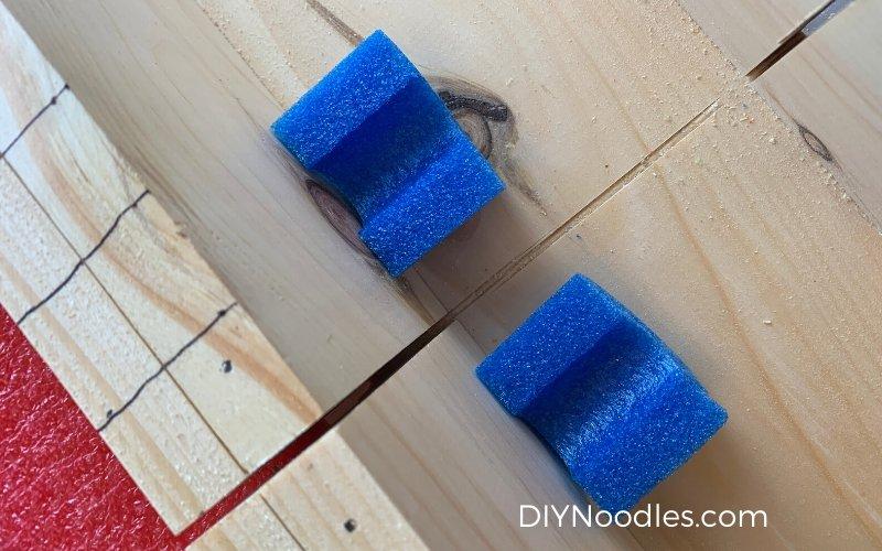 blue pool noodle pieces