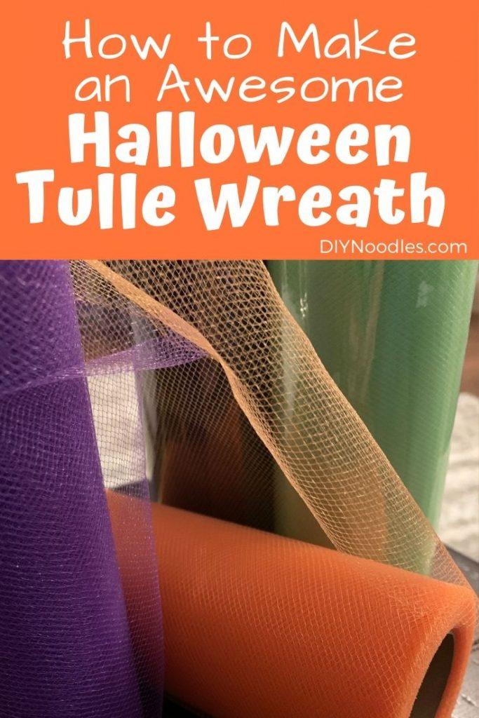 Halloween tulle wreath supplies