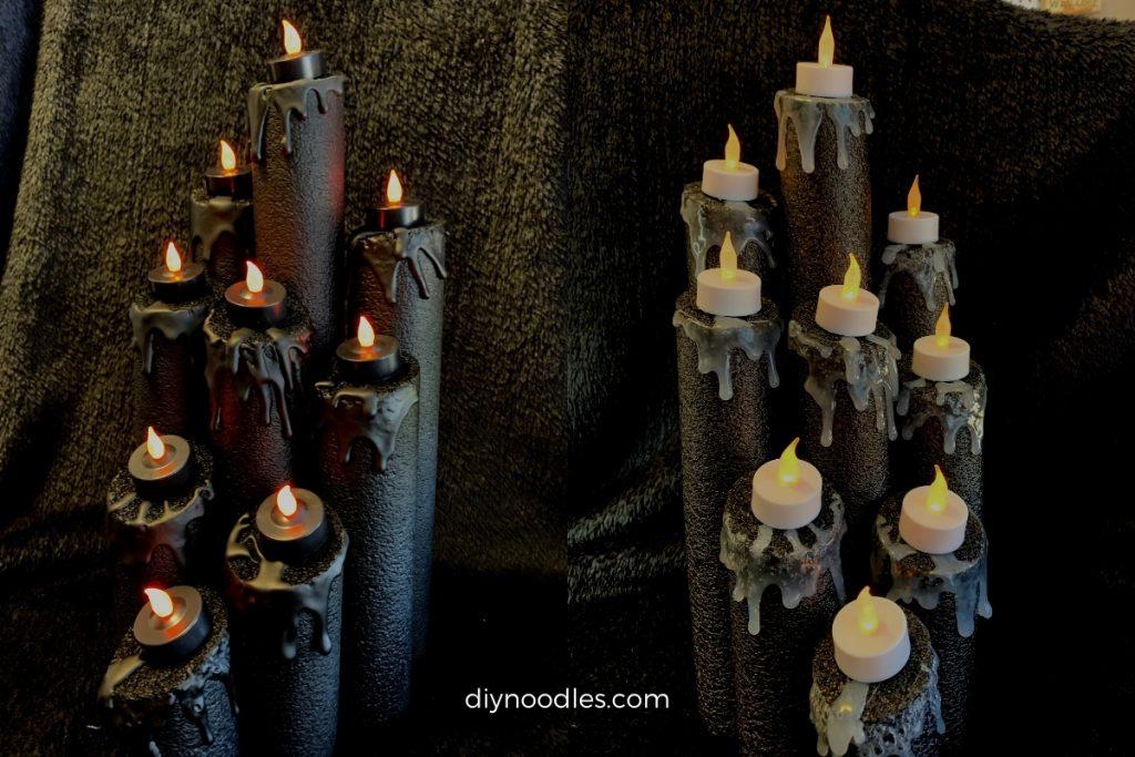 Halloween pool noodle candles