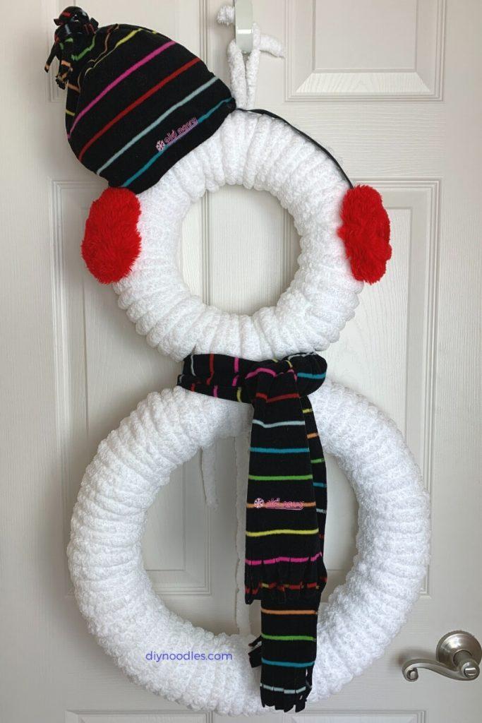 pool noodle snowman wreath