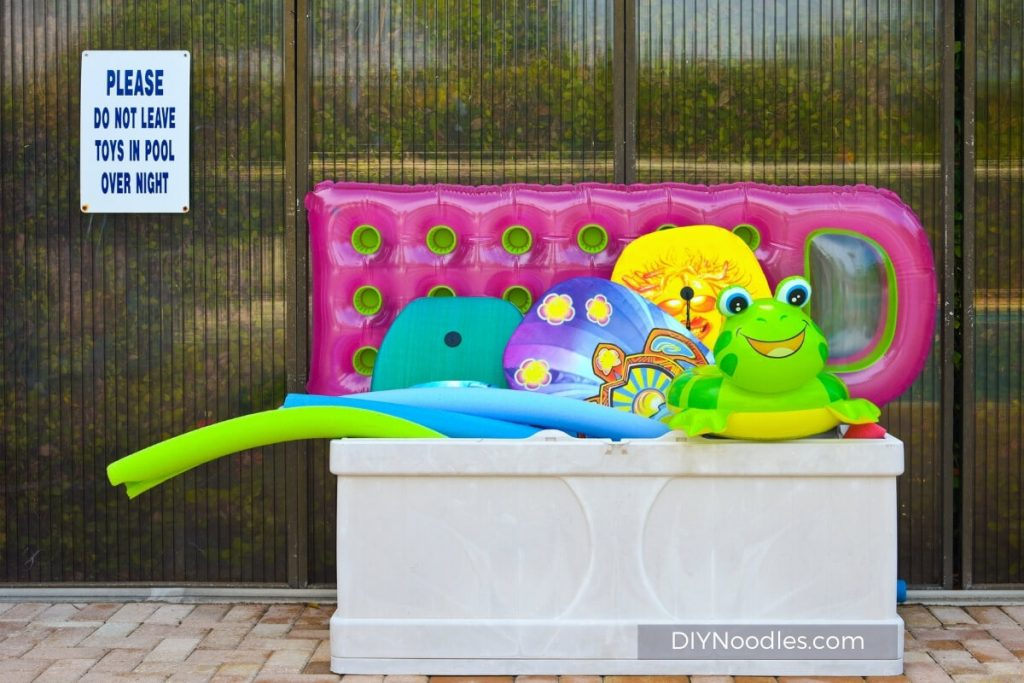toy box for pool noodle storage